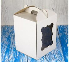 Коробка для торта 170*170*220 с окном белая