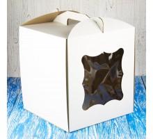 Коробка для торта 280*280*300 с окном белая