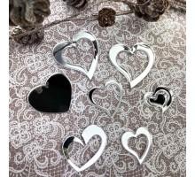 Декор акриловый сердечки (серебро)