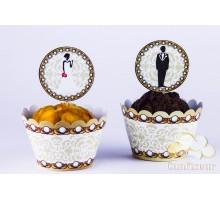 Обёртки для капкейков Свадьба (12 штук)