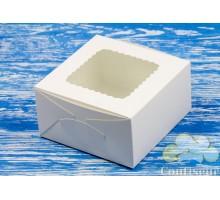 Коробка для десертов белая с окном 170*170*90