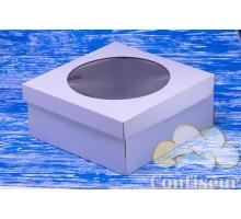 Коробка для торта 250*250*110 белая с окном