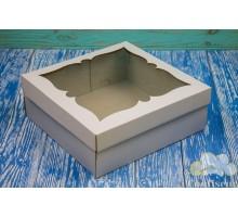 Коробка для торта 300*300*110 белая с окном