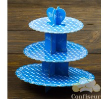 Stand for cupcakes Blue with white polka dots