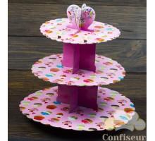 Стенд для капкейков Розовые пироженные