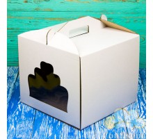 Box for cake 300*300*250 white with window