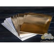 Подложка прямоугольная 10х20 см серебро/золото