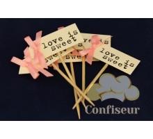 Флажок Love is Sweet 10шт (розовый)