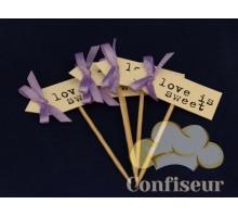 Флажок Love is Sweet 10шт (пурпурный)