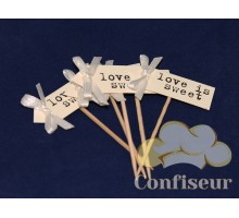 Флажок Love is Sweet 10шт (белый)