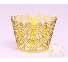 """Wrappers for cupcakes """"Art flowers"""" yellow 12 PCs"""