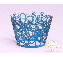 """Wrappers for cupcakes """"Art flowers"""" blue 12 PCs"""