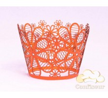 """Wrappers for cupcakes """"Art flowers"""" orange 12 PCs"""