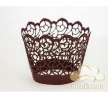 """Wrappers for cupcakes """"Curls"""" Bordeaux, 12 PCs"""