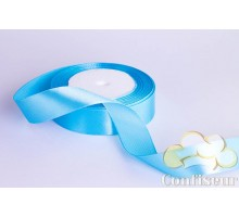 Лента атласная 25 мм, односторонняя, цвет - Голубая