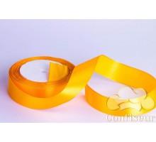 Лента атласная 25 мм, односторонняя, цвет - Оранжевая