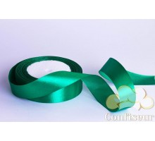 Лента атласная 25 мм, односторонняя, цвет - Зеленая