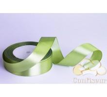 Лента атласная 25 мм, односторонняя, цвет - Оливковая
