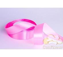 Лента атласная 25 мм, односторонняя, цвет - Розовый