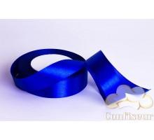 Лента атласная 25 мм, односторонняя, цвет - Синяя
