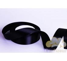 Лента атласная 25 мм, односторонняя, цвет - Черная