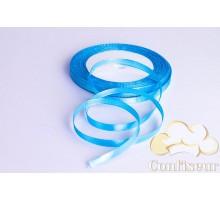 Лента атласная 5 мм, односторонняя, цвет - Голубая